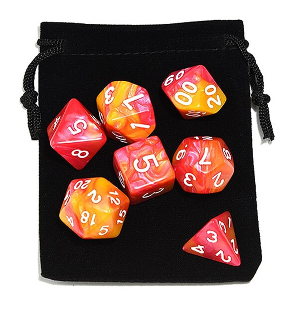 Red Yellow Polyhedral Marble Dice Set
