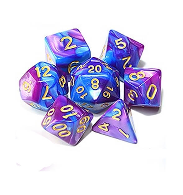 Turquoise Purple Polyhedral Dice Set