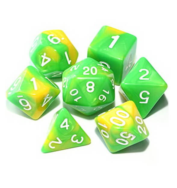 Sun Elf - Green / Yellow Dice Set