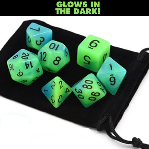 Glow in the Dark – Blue Green Dice Set