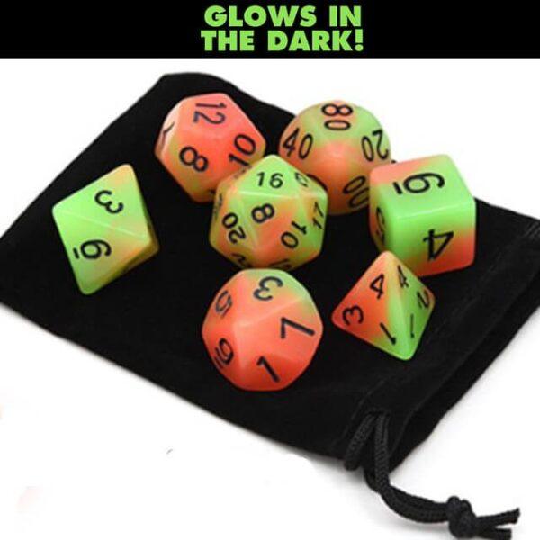 Glow in the Dark – Orange Green Dice Set