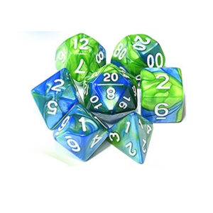 Green Blue Polyhedral Marble Dice Set
