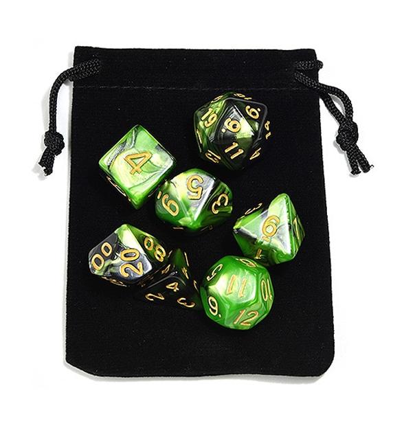 Green Black Polyhedral Dice Set