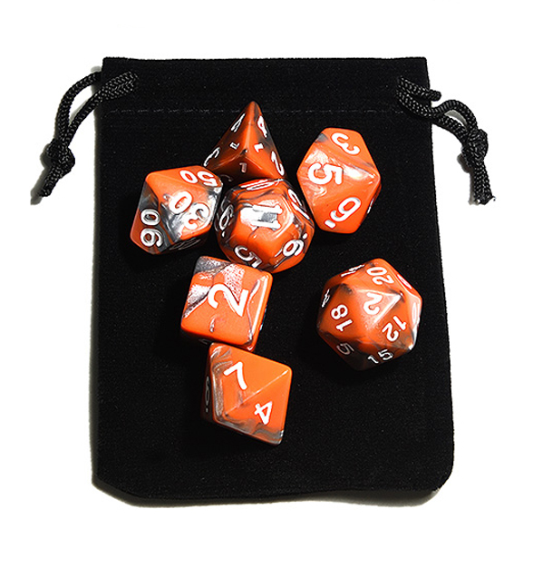 Orange and Silver Polyhedral Dice Set