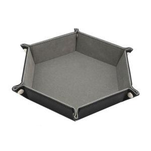Dice Tray - Folding Hex Tray w/ Grey Velvet
