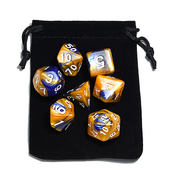 Blue Gold Polyhedral Dice Set
