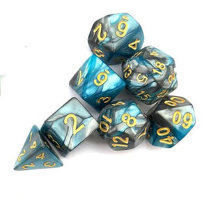 Turquoise Silver Polyhedral Dice Set