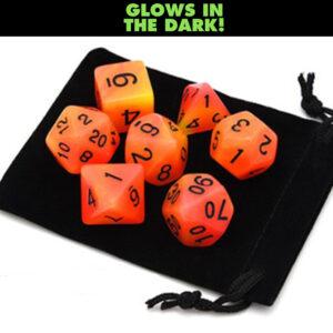 Glow in the Dark – Orange / Yellow Dice Set