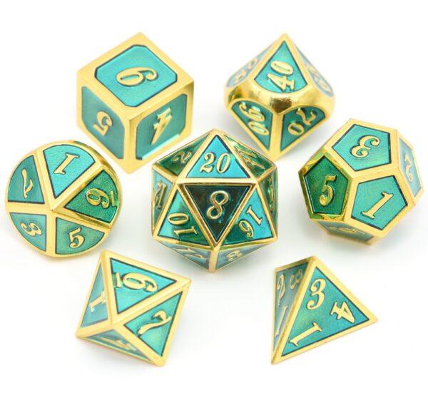 Metal Dice Set - Aqua Gold