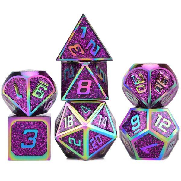 Metal Dice Purple Glitter