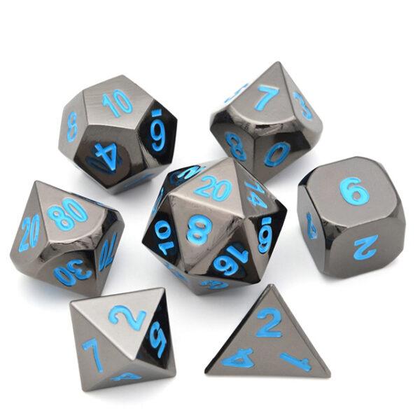 Raven Chrome Metal Dice Set /w Blue