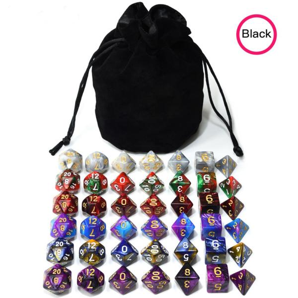 RPG Dice 6 x Set Bundle + Bag of Holding