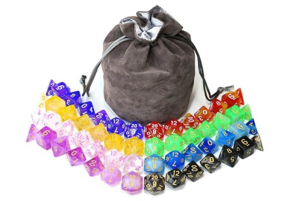 RPG Dice - 8 x Transparent + Bag of Holding