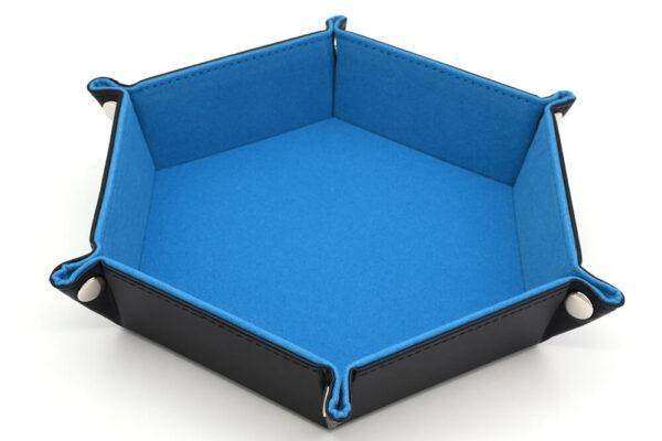 Dice Tray - Folding Hex w/ Blue Velvet