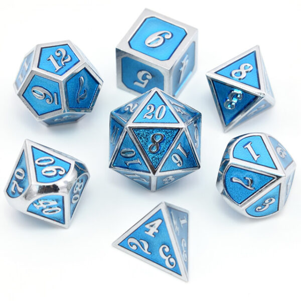 Metal Dice Set - Frost Mage Blue