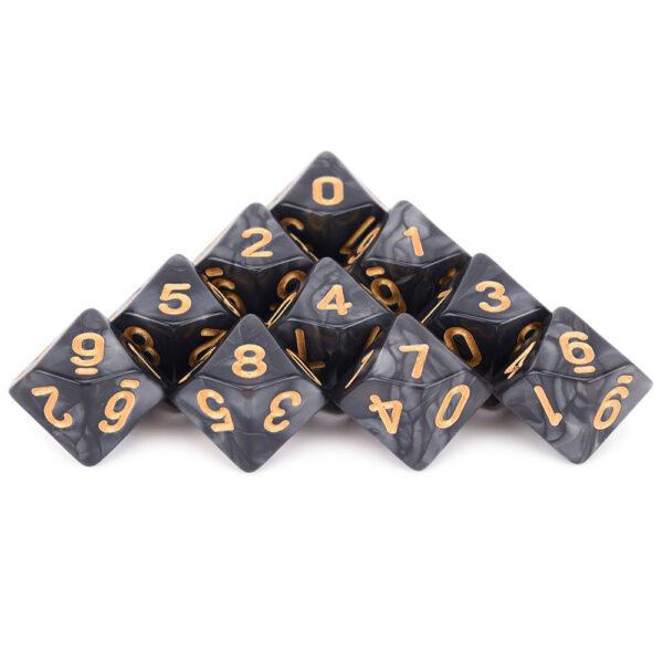 D10 x 10 Black/ Gold Dice