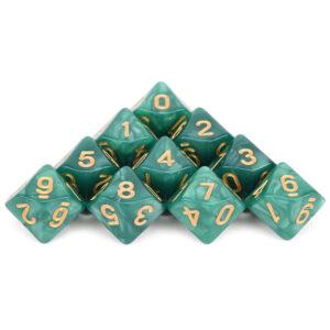 D10 x 10 Green w/ Gold Dice