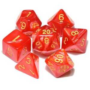 DnD Dice Red /w Gold