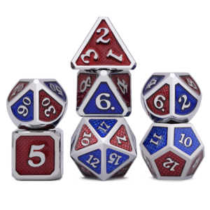 Metal Dice - Dragon Hide - Red / Blue Two Tone