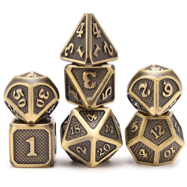 Metal Dice - Dragon Hide - Polished Gold