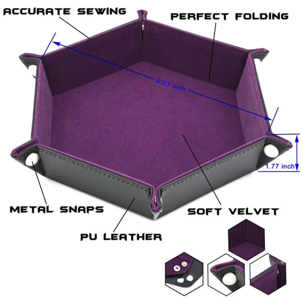 Dice Tray - Folding Hex Tray w/ Dark Blue Velvet